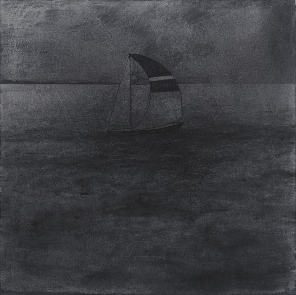 "Silke Otto-Knapp – ""Sailboat"", 2012 watercolour on linen 100 x 100 cm"