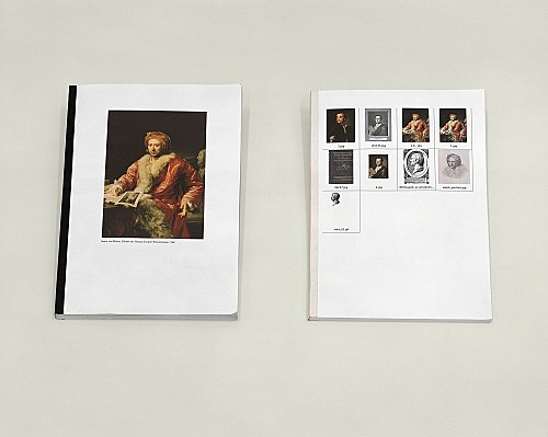"Henrik Olesen – ""some gay - lesbian artists (and/or artists relevant to homo-social culture) born inbetween 1717 - 1898"", 2005 collaged book: 29,7 x 21 cm, 146 pp xeroxed book: 29,7 x 21 cm, 98 pp table: 68 x 90 x 160 cm"