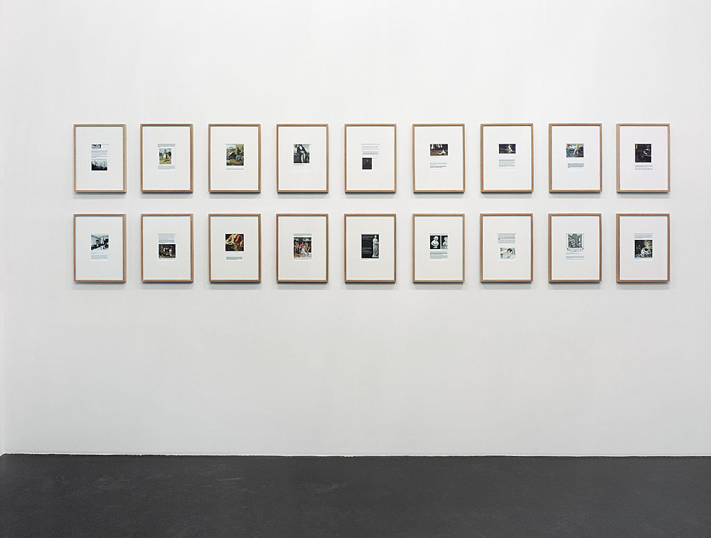 """Henrik Olesen – """"some gay-lesbian artists (and/or artists relevant to homo-social culture) born inbetween 1717 – 1898"""", 2005 18 framed computer collages, with felt pen / ball point pen marks each 16 x 11,5 cm framed each 41,5 x 31,5 cm"""