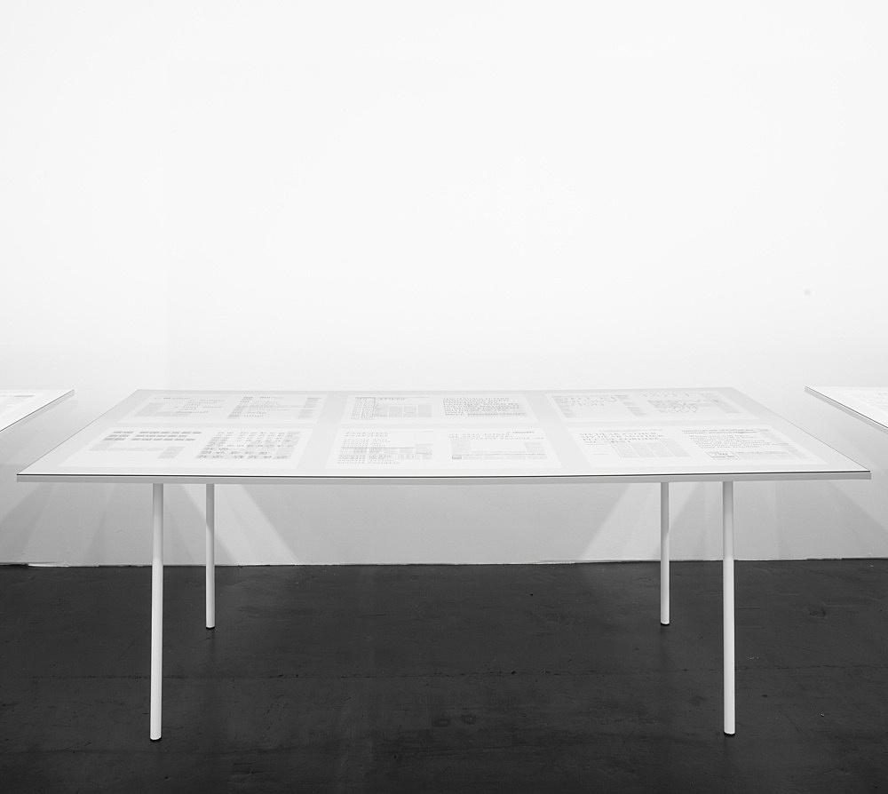 "Henrik Olesen – ""Papa-mama-Ich"", 2009 36 computer printouts on newsprint, each 48 x 33 cm 3 tables, each 83 x 230 x 120 cm glass detail"