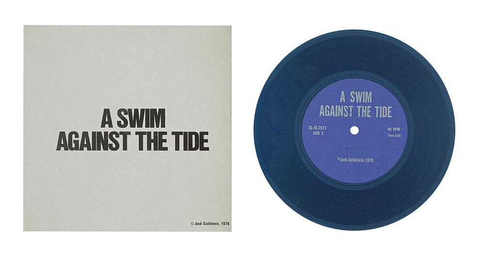"Jack Goldstein – ""A Suite of Nine 7-Inch Records"", 1976 45 rpm, different colored 7-inch vinyl detail: ""A Swim against the Tide"", 1976 45 rpm, blue vinyl"