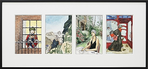 "Lucy McKenzie – ""Get the Turbans Out (Winter, Spring, Summer, Autumn)"", 2010 4 parts, water colour and ink on paper each 30 x 20 cm in one frame, 51 x 111,5 cm"