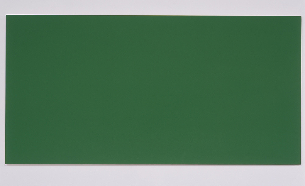 """Morgan Fisher – """"Pendant Pair Painting (red/green)"""", 2007 1 of 2 works, acrylic on canvas on wood 100 x 200 cm"""