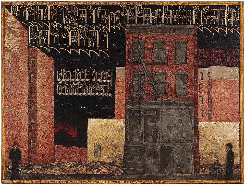 """Martin Wong – """"Stanton Near Forsyth"""", 1984 acrylic on canvas 122 x 162.5 cm"""