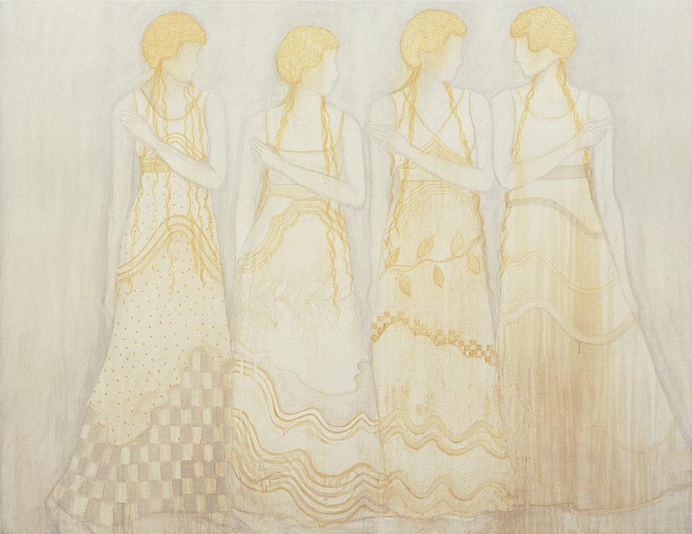 """Silke Otto-Knapp – """"Group"""", 2004 watercolour on canvas 101 x 132 cm"""