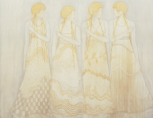 "Silke Otto-Knapp – ""Group"", 2004 watercolour on canvas 101 x 132 cm"