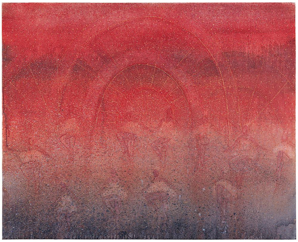"Silke Otto-Knapp – ""Showgirls (red)"", 2003 watercolour on canvas 86 x 105 cm"