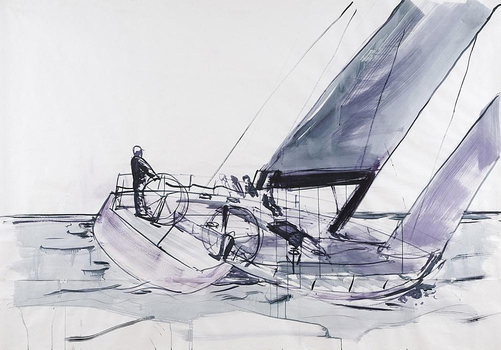 "Thomas Eggerer – Drawing for ""Regatta"", 2009 acrylic, pencil, carbon on paper 152 x 218 cm"