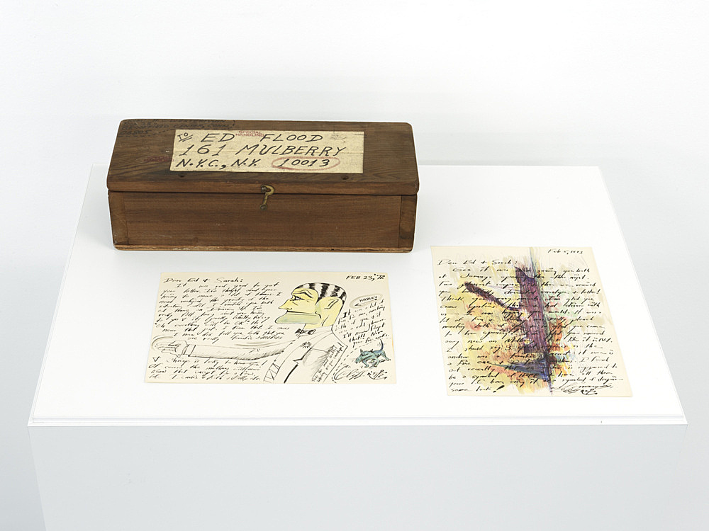 "H.C. Westermann – ""Untitled (mailing box for Ed Flood)"", 1974 wood, paper, metal 10 x 14 x 36,8 cm & 2 letters to Ed & Sarah 2/23/72, 2/5/73 ink and gouache on paper each 27,2 x 19,6 cm"