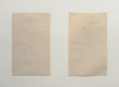 """Cheyney Thompson – """"Sets of Curves from Bellona to Rubens to Cézanne to Bezier"""", 2006 2 of 17 inkjet prints on newspaper in cardboard box each print 35,5 x 22 cm detail"""