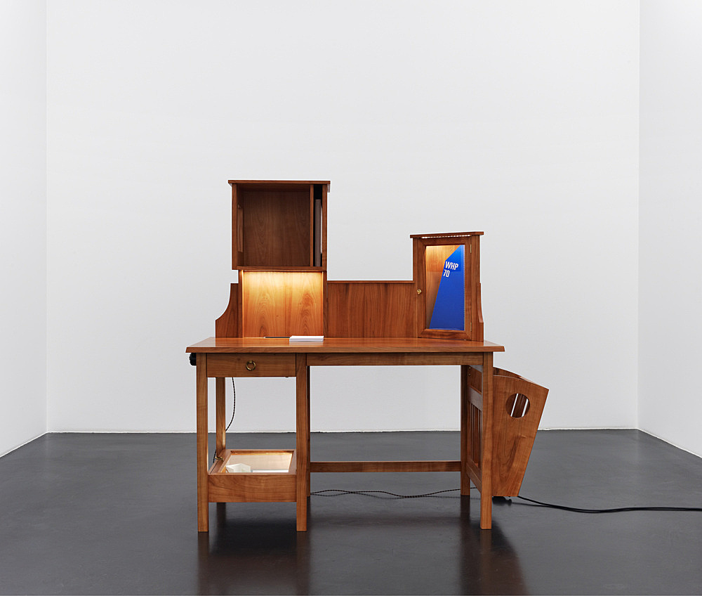 "Lucy McKenzie – ""Ian Hamilton Finley Archive Bureau"", 2010 desk designed by Lucy McKenzie in collaboration with Hubert Debiesme and David Boussier various materials 148 x 150 x 69 cm"