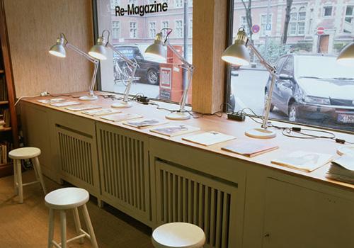 Re-Magazine – window display installation view Antiquariat Buchholz, Köln 2004