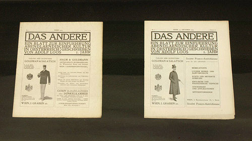 """– vitrine with two copies of """"Das Andere"""" by Adolph Loos vol. 1, issue 1 and 2, Vienna 1903"""