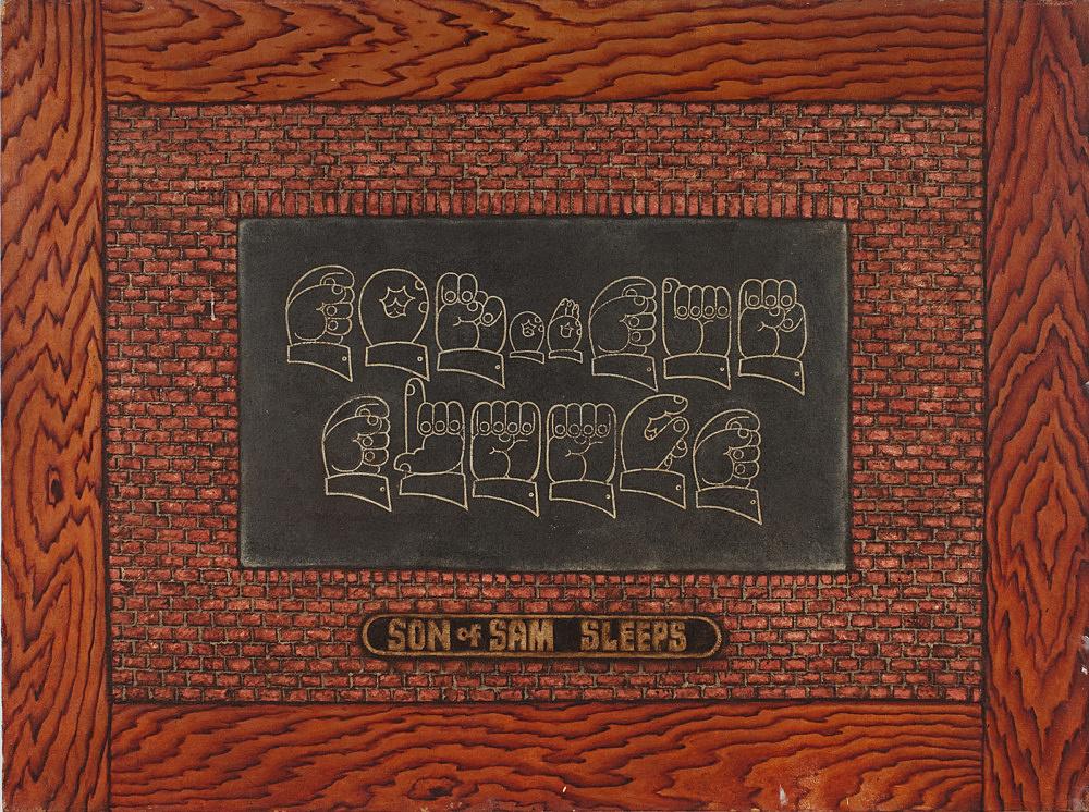 """Martin Wong – """"Son of Sam Sleeps"""", c. 1983 acrylic on canvas 91.5 x 122 cm"""
