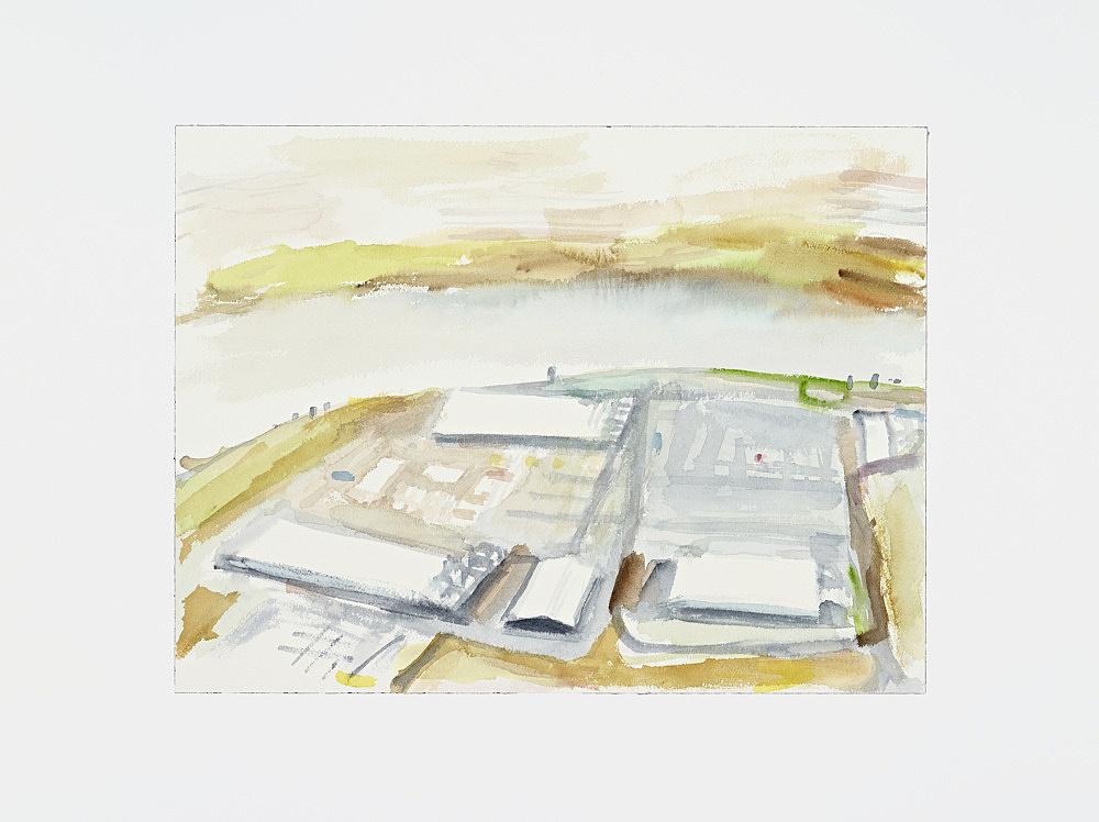 "John Kelsey – ""Google Data Center, The Dalles, OR II."", 2013 watercolor, mounted on aluminum 31 x 41 cm"