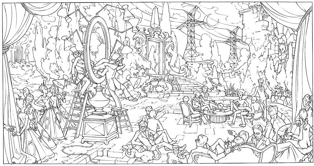 "Julian Göthe – ""Resurrection"", 2008 pencil on paper 22 x 41 cm"
