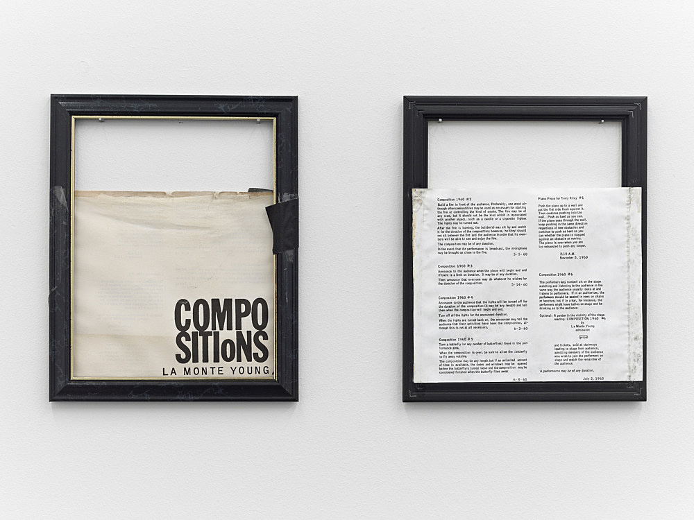 """Tony Conrad – """"Compositions by La Monte Young"""", 2001 frame, paper, tape each 31,5 x 26 x 1 cm"""