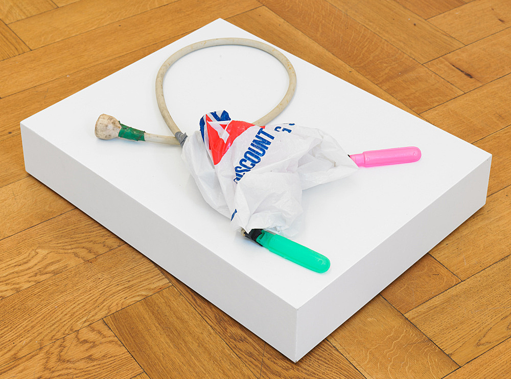 "Tony Conrad – ""Whistle Bagpipe"", ca. 2004 rubber tube, plastic bag, plastic toy whistles dimensions variable"