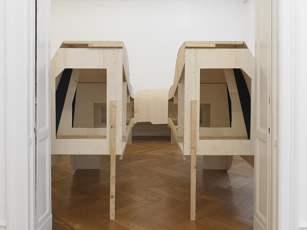 Cosima von Bonin – TOYOTAS (GRANDVILLE-AND-THE-DECISION-AT-GRANDVILLE-VERSION), 2010/2011 spruce, cardboard, tape 5 parts: 2 parts, each 175 x 88 x 250 cm 2 parts, each 184 x 260 x 87 cm 1 part, 300 x 175 x 178 cm installation view Galerie Buchholz, Berlin 2011