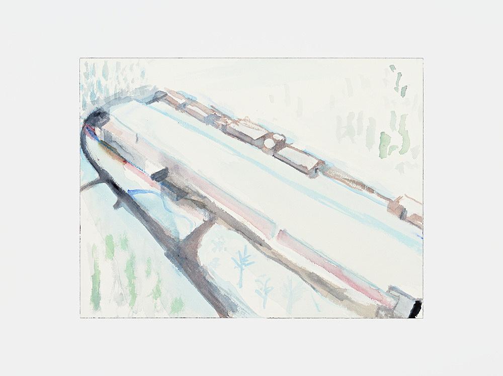 "John Kelsey – ""Facebook Data Center, Lulea, Sweden"", 2013 watercolor, mounted on aluminum 31 x 41 cm"