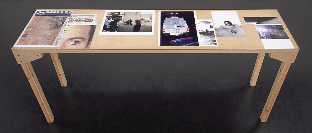 """Wolfgang Tillmans – """"Tisch (Köln) 2"""", 2007 wood, glass, c-print, photocopies"""