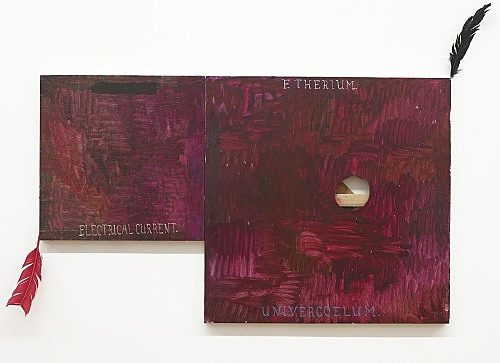 "Richard Hawkins – ""Electrical Current / Etherium Univercoelum"", 2008 oil on canvas, feather 76 x 127 cm"