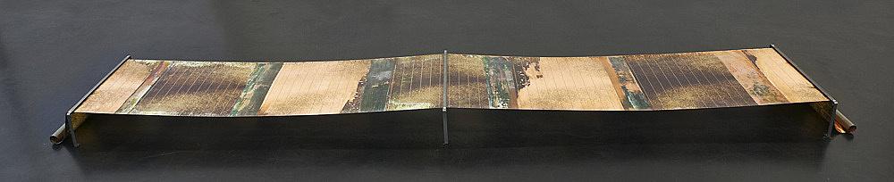 "Sam Lewitt – ""Weak Local Lineament (ICF 04)"", 2013 etching on copper-clad plastic 322 x 50 x 0,002 cm steel brackets 1,5 x 15,6 cm"