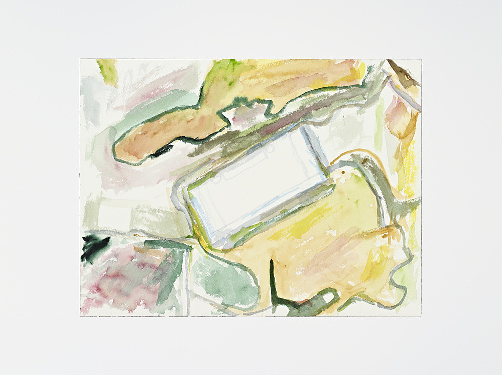 "John Kelsey – ""Apple Data Center, Maiden, NC II."", 2013 watercolor, mounted on aluminum 31 x 41 cm"