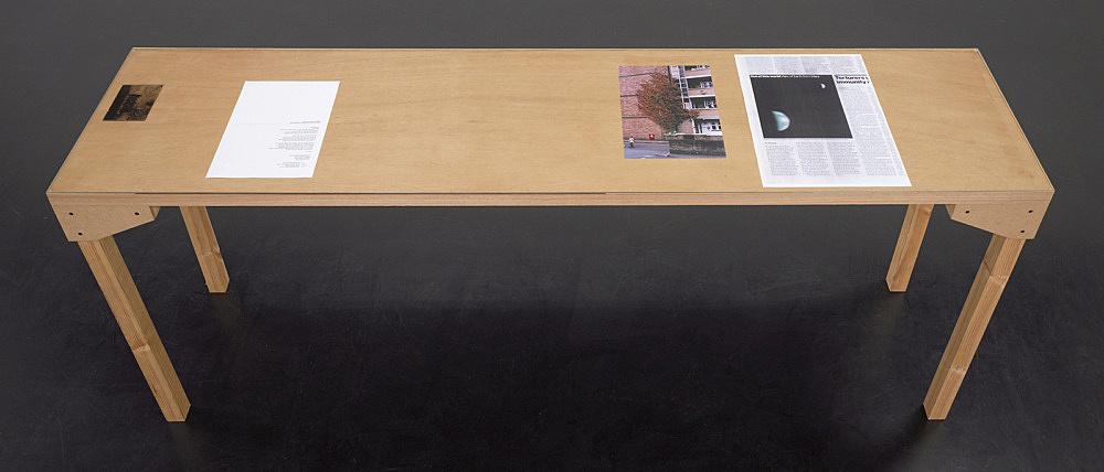 """Wolfgang Tillmans – """"Tisch (Köln) 3"""", 2007 wood, glass, c-print, photocopies"""