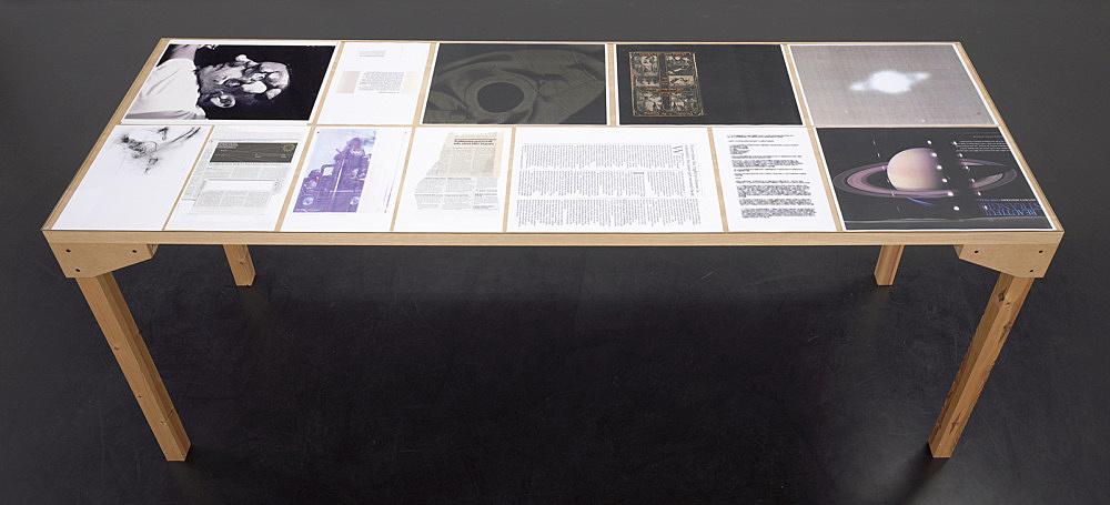 """Wolfgang Tillmans – """"Tisch (Köln) 4"""", 2007 wood, glass, c-print, photocopies"""