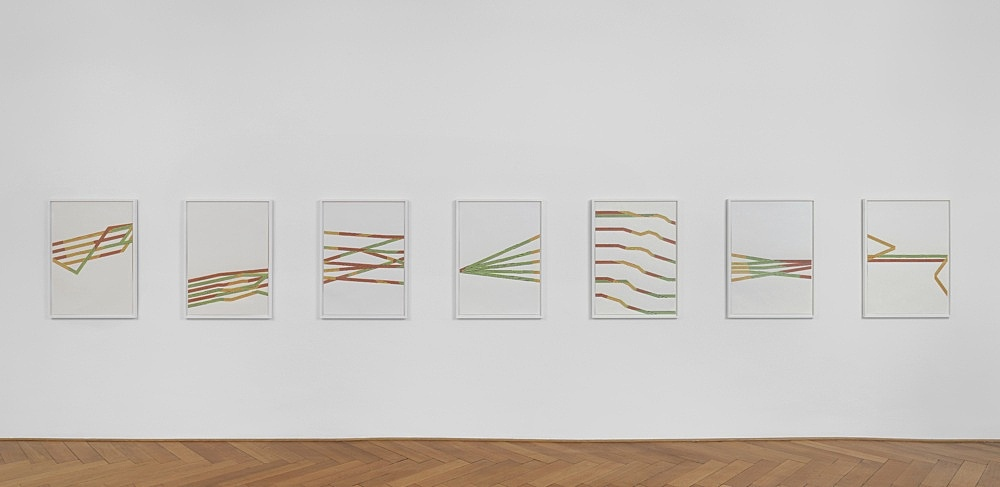 Tomma Abts – Untitled 1-7, 2013 pencil and coloured pencil on paper 7 parts, each 84,1 x 59,4 cm