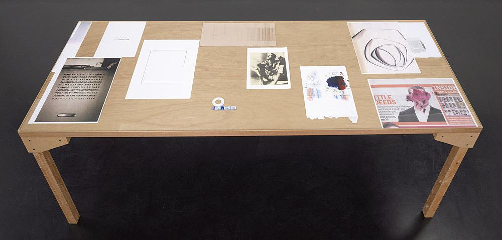"Wolfgang Tillmans – ""truth study center (Helsinki), table 10"", 2006 wood, glass, c-print, photocopies"