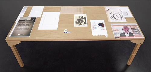"Wolfgang Tillmans – ""truth study center (Helsinki), table 10"", 2006 wood, glass, c-print, photocopies"