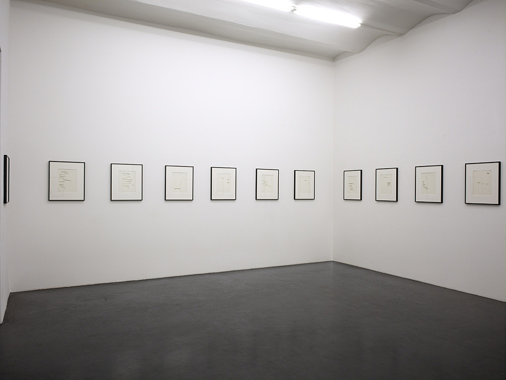 """Cerith Wyn Evans – """"Un Coup de dés jamais n'abolira le hasard"""", 2009 22 perforated book pages each 32,5 x 24,7 cm (framed each 54 x 45,3 cm) """"Permit yourself…"""" installation view Galerie Daniel Buchholz, Neven-DuMont-Straße 17, 2009"""