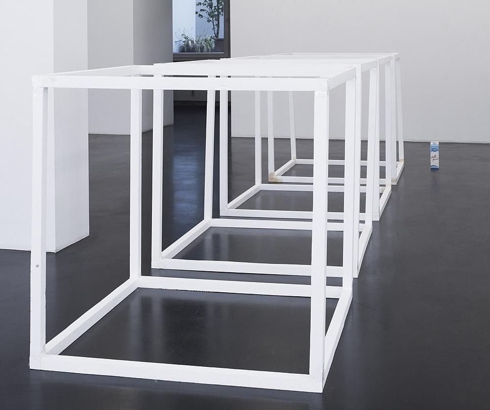 "Henrik Olesen – ""Cubes (after Sol LeWitt)"", 1998/2008 4 cubes, polystyrene, adhesive tape, each 100 x 100 x 100 cm milk carton, composite material, 24 x 7 x 7 cm installation view Galerie Daniel Buchholz, Köln 2010"