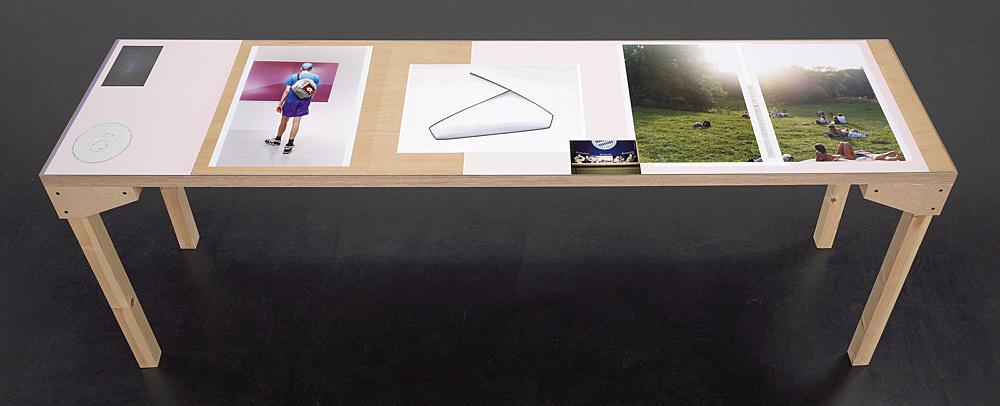 """Wolfgang Tillmans – """"Tisch (Köln) 5"""", 2007 wood, glass, c-print, photocopies"""