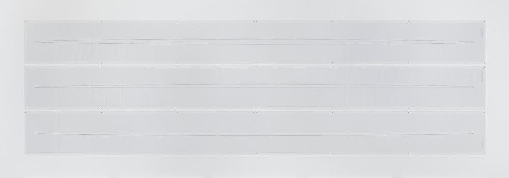 "Isa Genzken – ""Ellipsoids"", 1976/2013 3 computer printouts on continuous paper full, half, half each 37,5 x 438 cm perspex 41,5 x 440 cm"