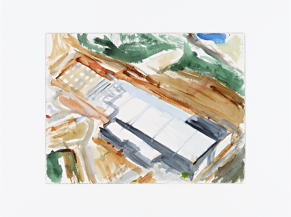 """John Kelsey – """"Facebook Data Center, Rutherford County, NC IV."""", 2013 watercolor, mounted on plexi 31 x 41 cm"""
