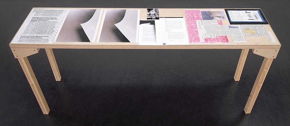 """Wolfgang Tillmans – """"Tisch (Köln) 6"""", 2007 wood, glass, c-print, photocopies"""