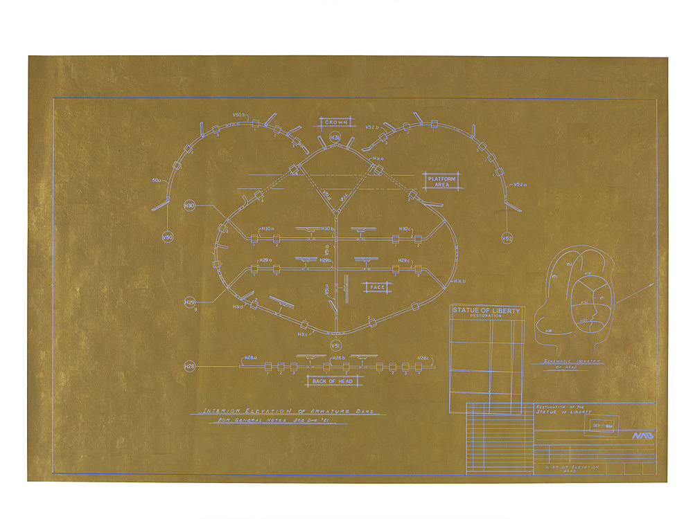 "Danh Vo – ""Live Free Or Die"", 2011 gold leaf on blueprint 70 x 105 cm perspex box: 77 x 112 x 3,5 cm"