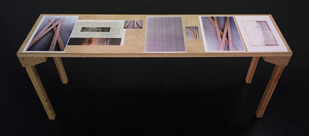 """Wolfgang Tillmans – """"Tisch (Köln) 7"""", 2007 wood, glass, c-print, photocopies"""