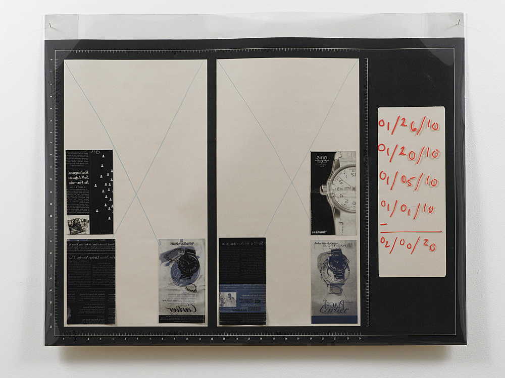 """Sam Lewitt – """"Templates: sequence 01/…/10"""", 2010 portfolio of 10 screen prints on archival newsprint, inkjet on transparency paper of all watch ads from the New York Times January 2010, mylar cover 63 x 86 cm detail"""