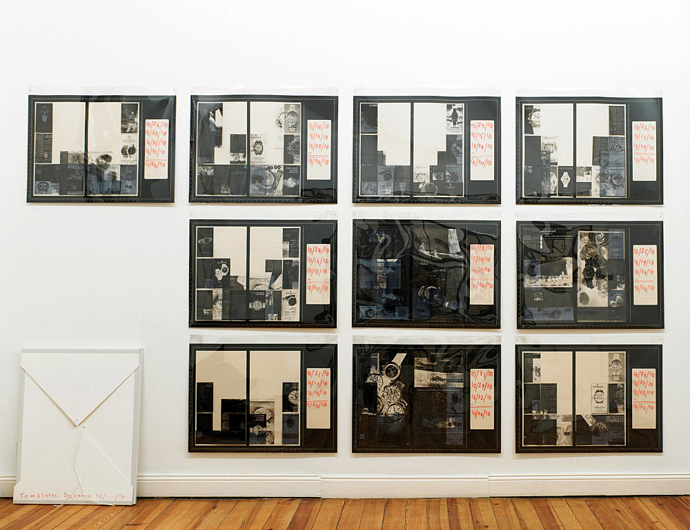 """Sam Lewitt – """"Templates: sequence 10/…/10"""", 2010 portfolio of 10 screen prints on archival newsprint, inkjet on transparency paper of all watch ads from the New York Times October 2010, mylar cover 63 x 86 cm"""