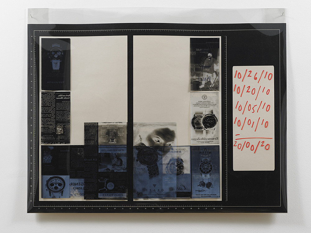 """Sam Lewitt – """"Templates: sequence 10/…/10"""", 2010 portfolio of 10 screen prints on archival newsprint, inkjet on transparency paper of all watch ads from the New York Times October 2010, mylar cover 63 x 86 cm detail"""