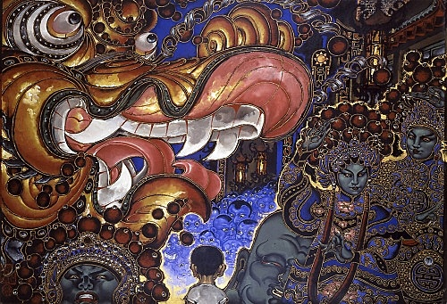 "Martin Wong – ""Chinese New Year's Parade"", 1992 - 1994 acrylic on canvas 213.5 x 306 cm"