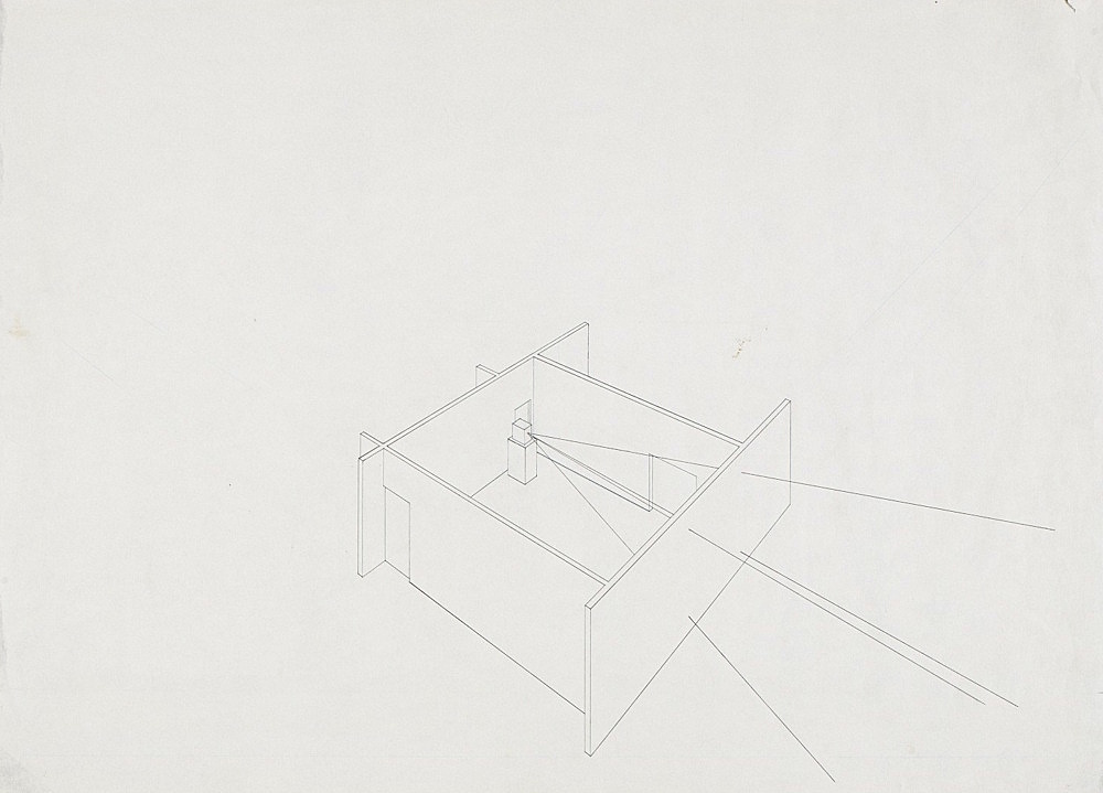 """Morgan Fisher – """"Installation view of Southern Exposure"""", 1977 pencil on paper 43,5 x 60,5 cm"""