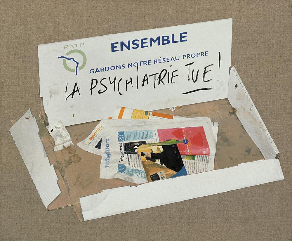 "Cheyney Thompson – ""La Psychiatrie Tue"", 2004 acrylic and oil on linen 60 x 72,5 cm"