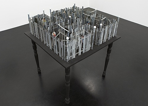 "Richard Hawkins – ""Shinjuku Labyrinth"", 2007 wood, collage 102 x 94 x 94 cm"