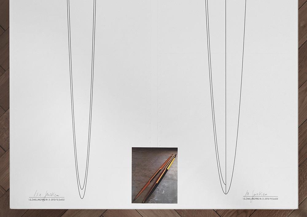 "Isa Genzken – ""Doppelellipsoid Zwilling"", 1982/2013 computer printout on continuous paper 2 parts, each 37,5 x 606 cm, c-print 15 x 12 cm, wooden table, perspex 75 x 608 x 78 cm detail"