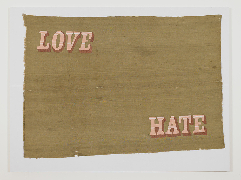 Cosima von Bonin – LOVE/HATE, 2011 jute sacking, cotton 196 x 270 cm stretchers 226 x 300 x 6 cm